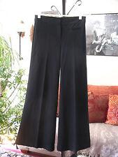 THEORY sz 4 Black Stretch Ponte Knit Wide Flare Leg Trousers Pants