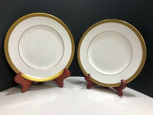 Wedgwood Bone China Senator Salad Plates Set of Two (2) Gold Encrusted Laurel