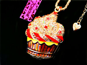 Betsey Johnson Crystal Ice cream Pendant charm Sweater chain necklace