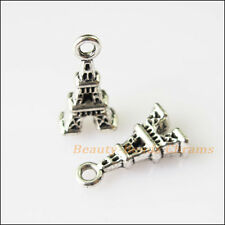 15Pcs Antiqued Silver Tone Tiny Eiffel Tower Charms Pendants 8.5x15.5mm