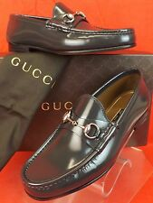 NIB GUCCI PIOMBO GRAY SHADE LUX  LEATHER SILVER HORSEBIT LOAFERS 11 US 12 387598