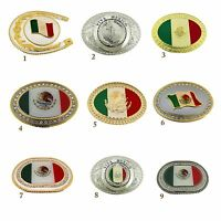 Mexico Latin America Flag Belt Buckle Vintage Silver Gold Metal Western Cowboy