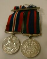 2 WORLD WAR II STERLING SILVER MEDALS CAMPAIGN & CANADA VOLUNTEER SERVICE