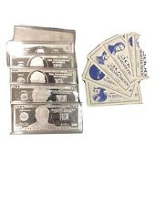 6 4oz .999 Silver $1,$2,$5,$10,$20,$50 Bills 24oz Of Pure Silver With Cert.
