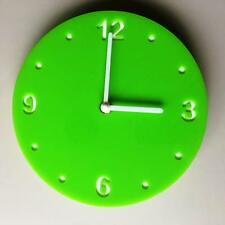 Round Lime Green Gloss Clock, White Backed, White Hands & Silent Sweep Movement