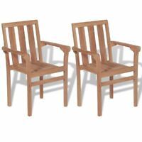 vidaXL 2x Solid Teak Wood Outdoor Chairs Patio Outdoor Garden Furniture Seat