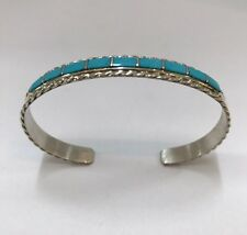 Native American sterling silver Zuni Turquoise inlay cuff bracelet