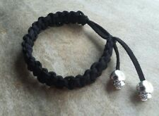 Black Braided Bracelet Adjustable Surfer Friendship Silver Skull Beads