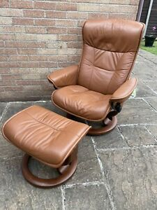Ekornes Stressless leather recliner chair with footstool