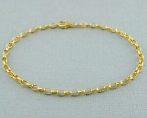 "9ct Yellow Gold Oval Belcher Bracelet 19cm / 7.5"" inch - 2.7mm"