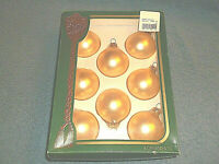 "SET OF 8 VICTORIA COLLECTION 2"" GOLD GLASS BALL CHRISTMAS ORNAMENTS IN BOX NICE"