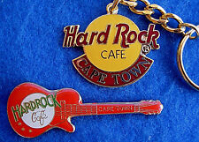 CAPE TOWN CLASSIC LOGO KEYCHAIN & RED GIBSON LES PAUL GUITAR Hard Rock Cafe PIN