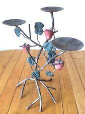 Vintage Toleware Triple Pillar Candlestick Holder Metal Tree Branch Leaf Fruit