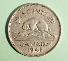 1941 Canada 5 Cent - Nickel - Circulated - Nice Coin Album Collectable