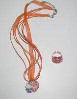 Lot Bague + Collier Pendentif Orange NEUF