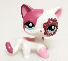 Hasbro Littlest Pet Shop Rare LPS #2291 Figure Cat Glitter Sparkle White Pink E1