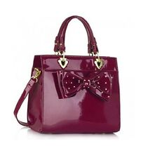 LARGE HANDBAG WOMEN'S BOW BAG CELEB STYLE FAUX LEATHER / PATENTED TOTE HANDBAGS