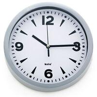 Kela Wanduhr Silber Uhr Baduhr Design Küchenuhr Alu grau Bahnhofsuhr