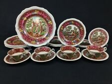 Spode Delft Multicolor Brown Tower 20-Piece Set for 4 Dinner Salad Plates Cups