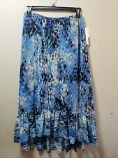 Elle F30 Womens Maxi Skirt High Low Elastic Waist Blue Size 8 Casual