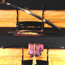Japanese Wakizashi Sword Damascus Clay Tempered Real Hamon Razor Sharp Shirasaya