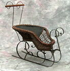 ANTIQUE VICTORIAN DOLL WICKER & WROUGHT IRON HORSE DRAWN SLED SLEIGH CARRIAGE