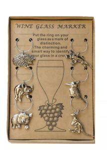 Wine Glass Markers Australian Animals Boxed Set of 6 - Australian Souvenirs