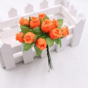 12Pcs Diy Wreath Scrapbook Use Decor Mini Rose Artificial Flower Wedding Party