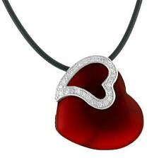 925 Sterling Silver Red Coral & CZ Large Heart Pendant from Bali Indonesia