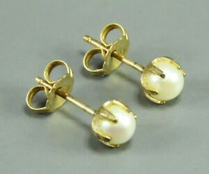 14K YELLOW GOLD Vintage CREAM PEARL STUD EARRINGS Claw Prong Setting CLASSIC!
