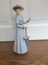 NARCO PALE BLUE GOWNED LADY FIGURINE WITH UMBRELLA - 26cm