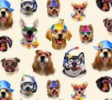 Beach Selfies Dogs in Sunglasses and Snorkle Gear Cream Fabric by the Yard