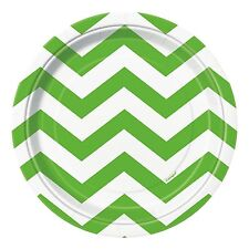 8 Lime Green White Chevron ZigZag Birthday Party Small 7  Paper Plates  sc 1 st  eBay : lime green paper plates - pezcame.com