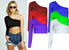 NEW LADIES PERFECT CROPPED ONE OFF SHOULDER LONG SLEEVE EVENING CROP TOP UK 6-16