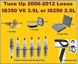 Tune Up 2006-2012 Lexus IS350 IS250 V6 Spark Plug, Oil Air Cabin Filter Serp Bel