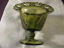 "VTG open lace vase cup planter paneled grape pedestal green glass round 5 3/4"""
