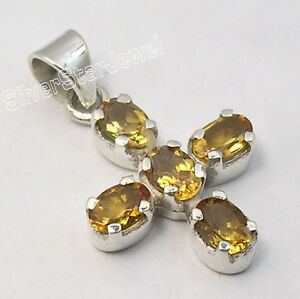 """925 Sterling Silver High End YELLOW CITRINE ANTIQUE STYLE CROSS Pendant 1.2"""" NEW"""