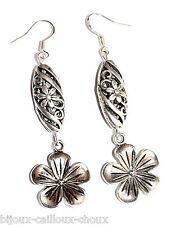 Boucles d'oreilles fantaisie plaqué argent longue fleur bijou + emballage cadeau