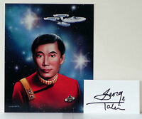 STAR TREK SULU GEORGE TAKEI PHOTO PRINT JOHN A. CULLADO ART + AUTOGRAPH CARD
