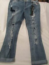 """Ladies """"Premiere"""" Size 13/14R, Blue, Destroyed, Low Rise, Cuffed, Skinny Jeans"""