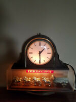 Vintage 70's Budweiser Clydesdales Clock. Very Clean / Bar Game Room Man Cave