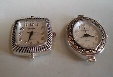 SET OF 2 SILVER FINISH DIAL WATCH FACES FOR BEADING,RIBBON OR OTHER USE