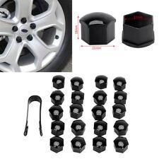 20pc Car Wheel Nut / Bolt Head Cover Cap 17mm Hex Black Plastic + Black Clip hot