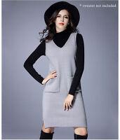 Women Ladies Casual Knit Coat Tunic Dress Sleeveless AU Size 14 16 18 20 22 3182