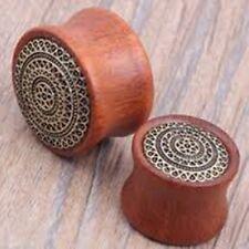 "Ear Plugs 18mm/11/13"" Gauge Body Je Pair-Wood w/Brass Lattice Inlay Saddle Flare"