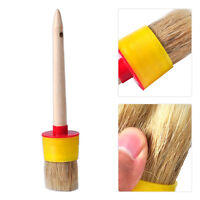 New Wooden Handle Round Paint Wax Chalk Brush Natural Bristles Chalk Brush Kit