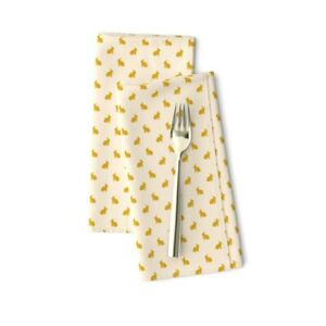 Bunny Gold Sail Champagne Cute Cotton Dinner Napkins by Spoonflower Set of 2