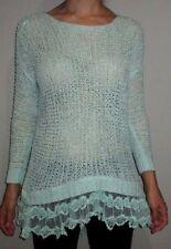 Women's Small ENTRO Romantic Sea Foam Green Knit Sweater Lace Accent Tunic Top