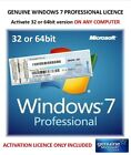 Windows 7 Professional 32 and 64bit Product Key ONLY - Activate on-line