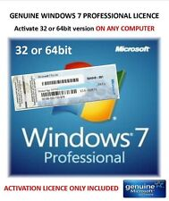 Win 7 Professional 32bit or 64bit - Genuine Product Key ONLY - Activate on-line